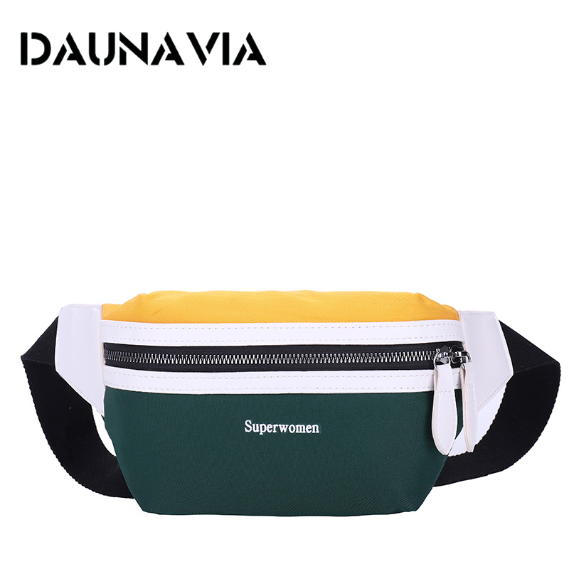 DAUNAVIA Waist Bag Chest Bag Women New Canvas Leisure Fanny Pack For Girls Letter Bum Bag Packs Fashion Crossbody Belt Female