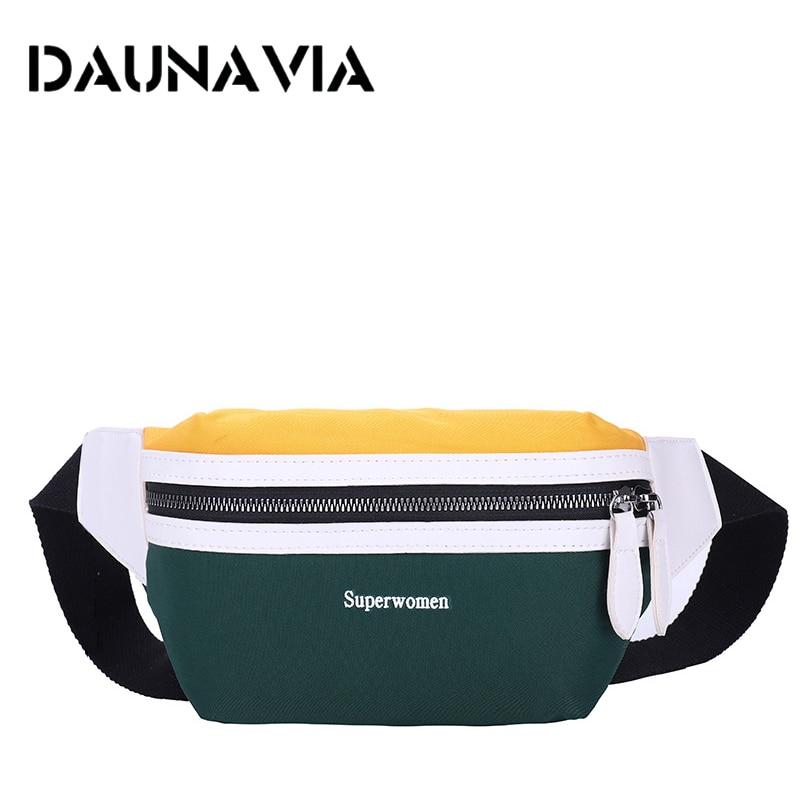 DAUNAVIA Waist Bag Chest Bag Women New Canvas Leisure Fanny Pack For Girls Letter Bum Bag Packs Fashion Crossbody Belt Female