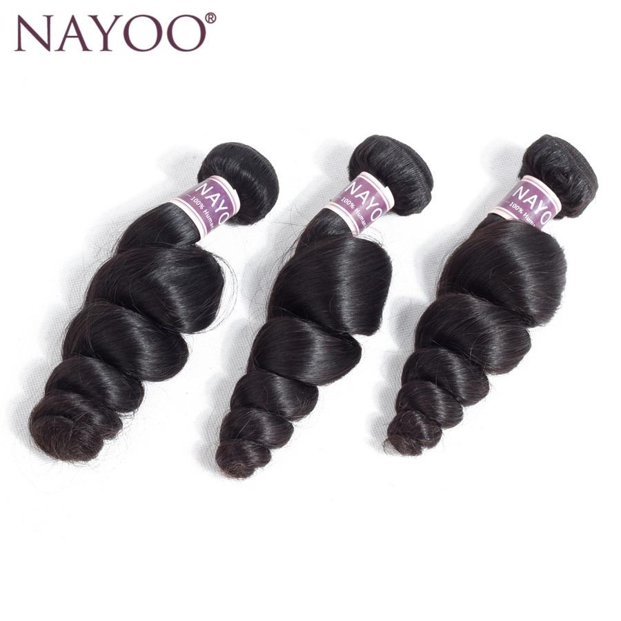 NAYOO Natural Color Hair Products Loose Wave Peruvian Hair Weave Bundles Human Hair Extension 3PCS Non Remy Hair No Tangle