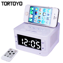 Stereo Wireless Bluetooth Speaker FM Radio Alarm Clock Computer Speakers with Charger Dock Station Holder for iPhone Android PC