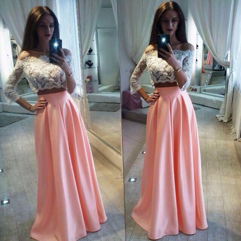 2017 Lace 2 Piece Prom Dresses 3/4 Long Sleeve Off Shoulder White ...