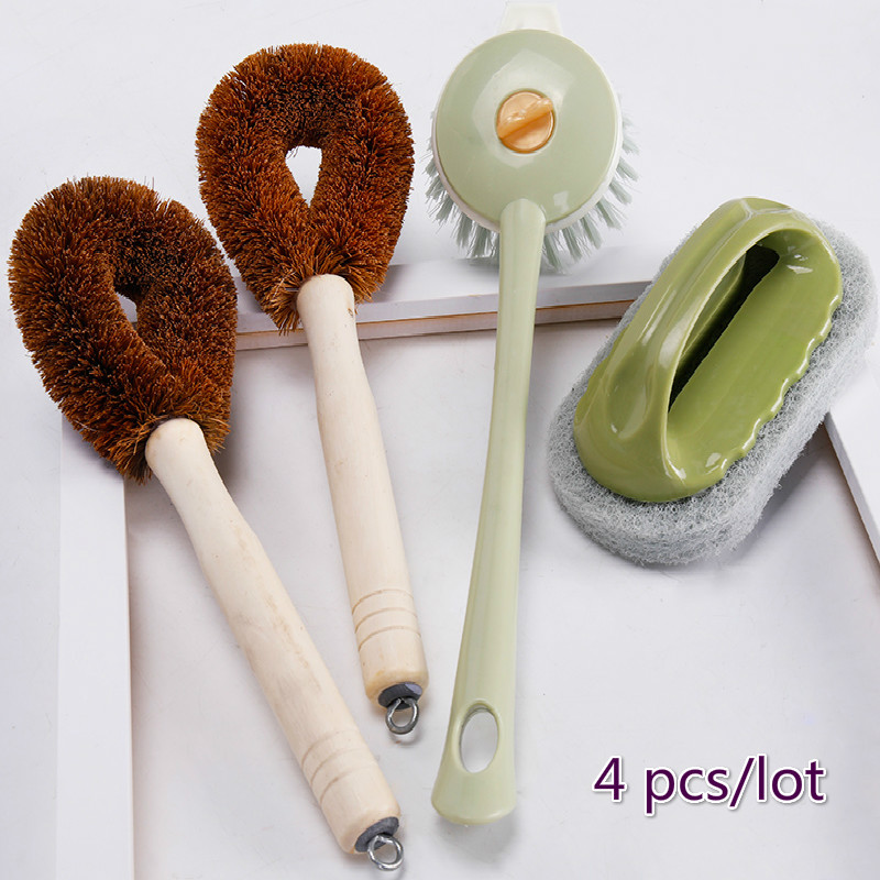 Kitchen Brush Coconut Palm Wash Brush Long Handle Cleaning Brush Nonstick Oil Dishwashing Pot Sponge Artifact Household Items