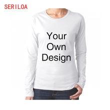 Женская футболка с длинным рукавом на заказ хлопковая Базовая