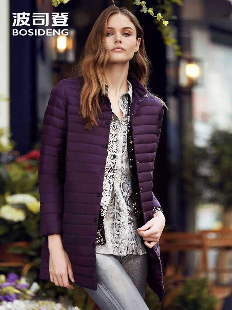 BOSIDENG early winter   down   jacket Long parka stand Collar Fashion Thin   Down     coat   Female high quality ultra light B70131104