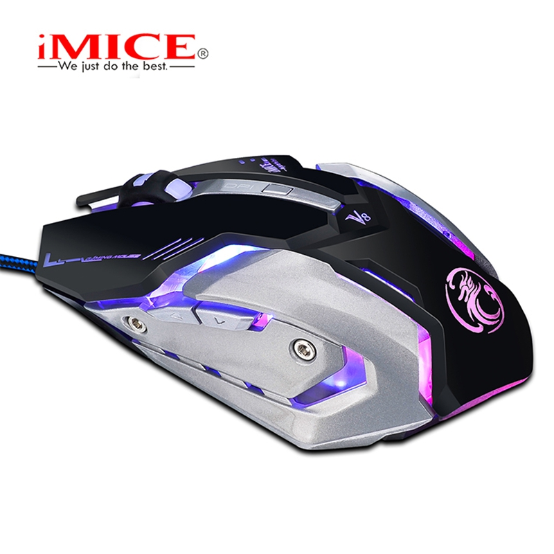 imice V8 Professional Wired Gaming Mouse USB Optical Computer Mouse 6 Buttons Standard Edition Multi-Color Breathing Backlight