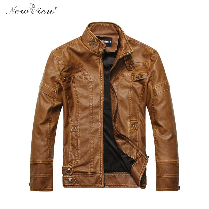 Leather Jacket Winter Thick Fur PU Leather Motorcycle Jackets Slim Casual Black Brown Overcoat Warm Male Jaqueta De Couro XXXL
