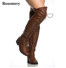 Women Winter New Fashion Lace-up Leather Over Knee Flat Boots Brown Black Zipper-up Long Knight Boots High Quality Warm Boots drop shipping luxury brand women black burgundy lace up front zipper sides soul rockstud glossed leather knee boots size 35 42