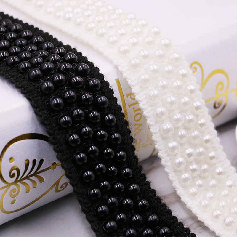 1Yards/lot Pearl Beaded Lace Trim Tape Fabric White/black Lace Ribbon Clothing Sewing Garment Embroidered Headdress Materials