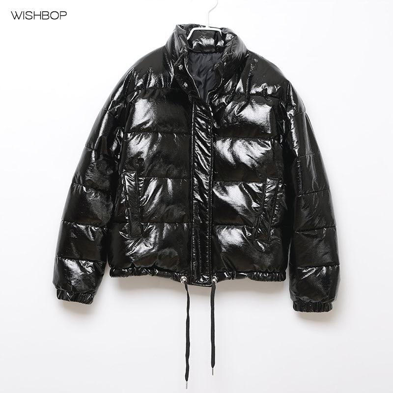 WISHBOP NEW 2017 Winter Black Faux Leather Padded Parka Short Coat Long lseeved Stand collar Drawstring HEM Side pockets inc new black women s 10 faux leather asymmetical hem ruffle skorts $69 232