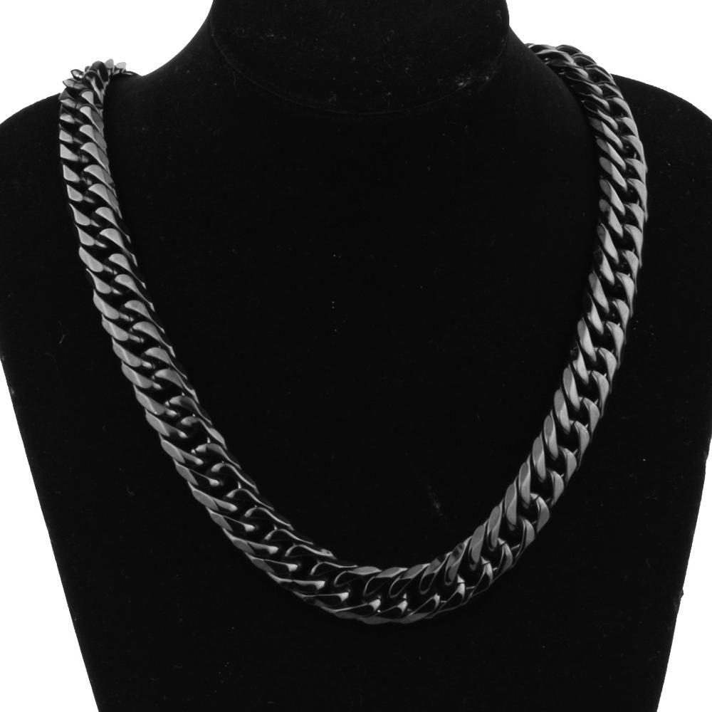 Trendy Style Mens Necklace Or Bracelet 16mm Wide Black Color Stainless Steel Curb Cuban Chain Vintage Jewelry 7 32 quot in Chain Necklaces from Jewelry amp Accessories