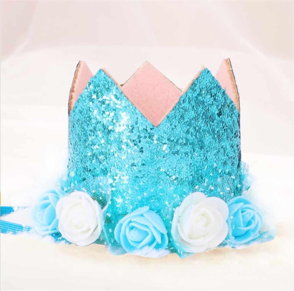 วันเกิดเด็กหมวก Hairband เจ้าหญิง Queen Crown ลูกไม้ผมวงยืดหยุ่นสวมหมวกหมวกการ์ตูน