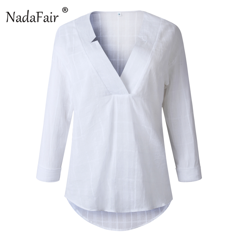 cotton white casual blouse women01