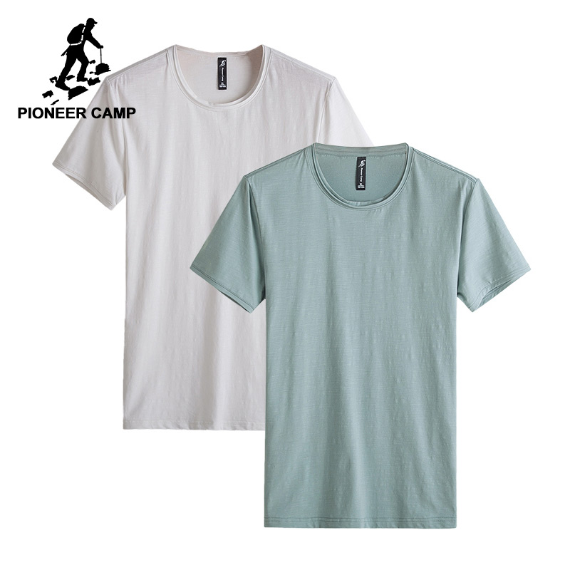 Pioneer Camp Pack of 2 Solid men t shirt casual brand clothing T-shirt male Top quality bamboo cotton stretch mens Tshirt