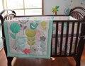 Aves Flores Jogo De Cama Berço Do Bebê Berço Da Cama Conjunto para Meninas Meninos Inclui Cuna Quilt Bumper Folha de Cama de Bebé Saia