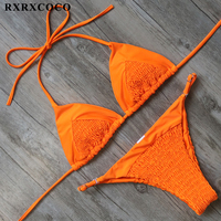 RXRXCOCO Brand Swimwear Women Sexy Halter Bandage Bikini 2017 Solid Bikini Set Padded Swimsuit Female Adjustable
