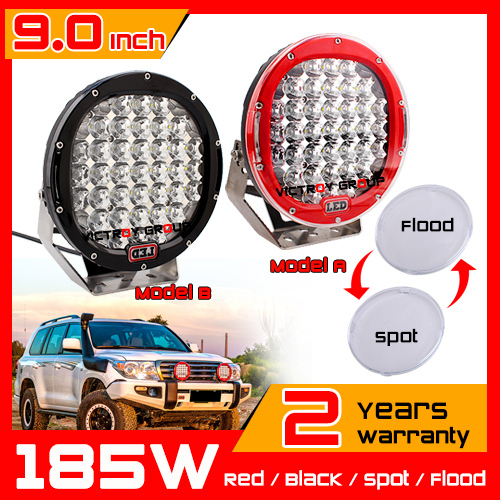 9'' 185W LED Work Light Red Spot Flood Light 12v 24v Offroad Fog LED Drive light LED Worklight External Light seckill 180w 200w 9 90w led work light 12v 24v led drive light spot combo led lens motorcycle boat atv 4wd offroad fog lamp led worklight vs 120w