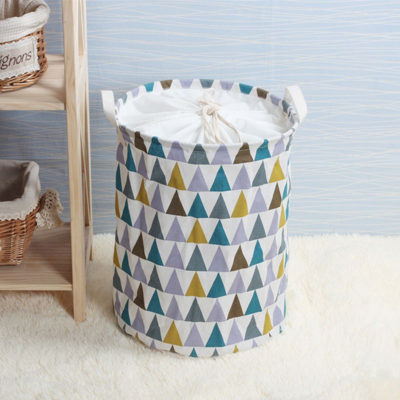 Waterproof Canvas Laundry Basket Bag Pattern Clothes Storage Basket Foldable Family Clothes Bucket Childrens Toy Storage Basket