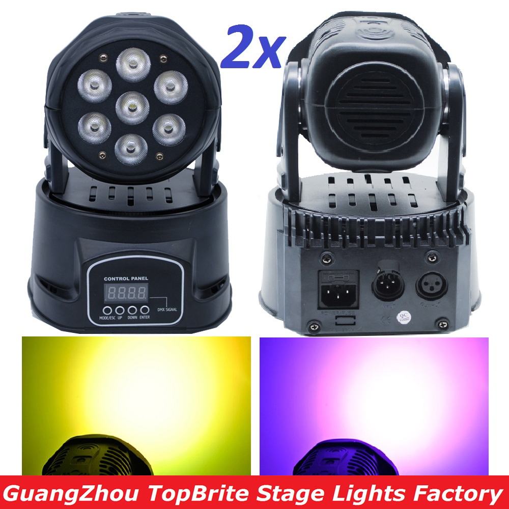2xLot Fast Shipping LED Moving Head Mini Wash 7x12W RGBW Quad with Advanced 14 Channels DJ Disco DMX Stage Lights Free Shipping