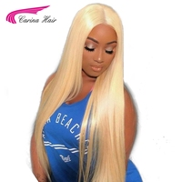 Carina Hair Brazilian Remy Human Hair 130% Density Pure 613 Blonde Full Lace Wigs With Baby Hair Bleached Knots Free Part