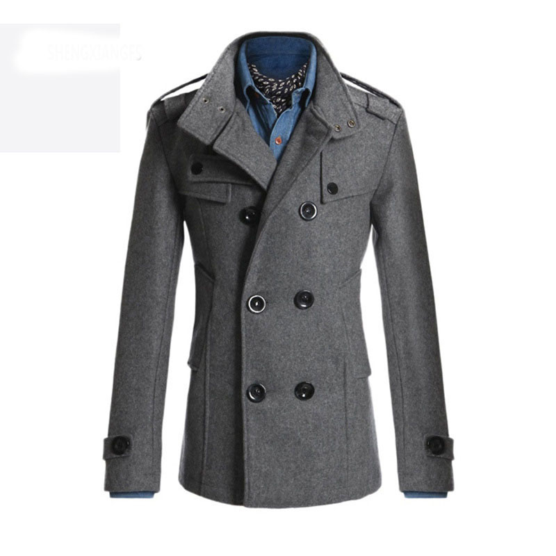 New Style 2017 Winter Casual Double Breasted Coat Men Stand Collar
