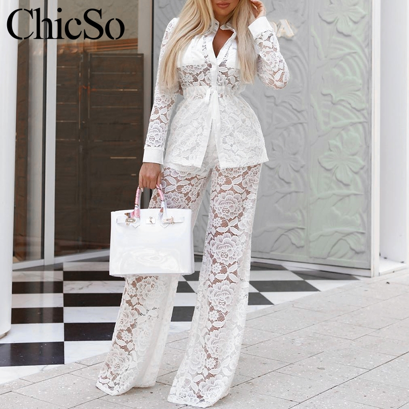 MissyChilli Two piece white lace jumpsuit romper Women hollow out long sexy jumpsuit palysuit Casual club winter female jumpsuit