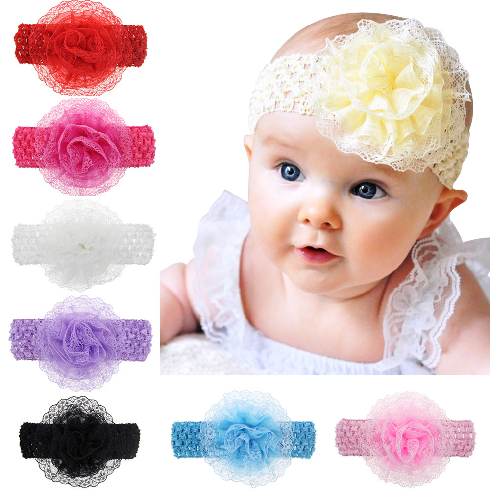 Baby Girls Headband Hairband Bow Head Elastic Band Flower Pearl Hair Accessories