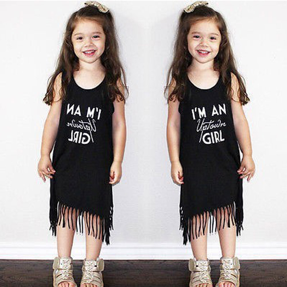 2018 Summer Fashion Infant Toddle Baby Girls Letter Tassel Sleeveless Clothes Princess Dress vestidos IM An Uptown Girl 1T-4T