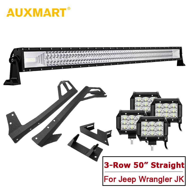 AUXMART Triple Row 50 LED Straight Light Bar + 4pcs Spot/Flood Driving Work Lights with Brackets for Jeep Wrangler JK 2007-2017