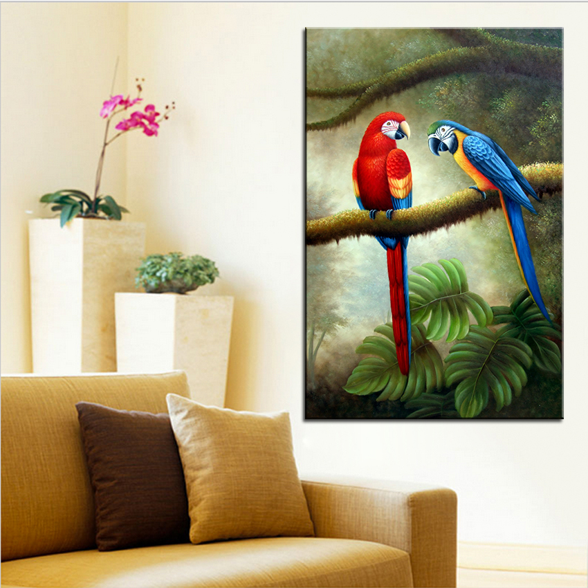 wall art wall decor wall painting two color parrot digital oil painting print nice painting for wall picture no frame