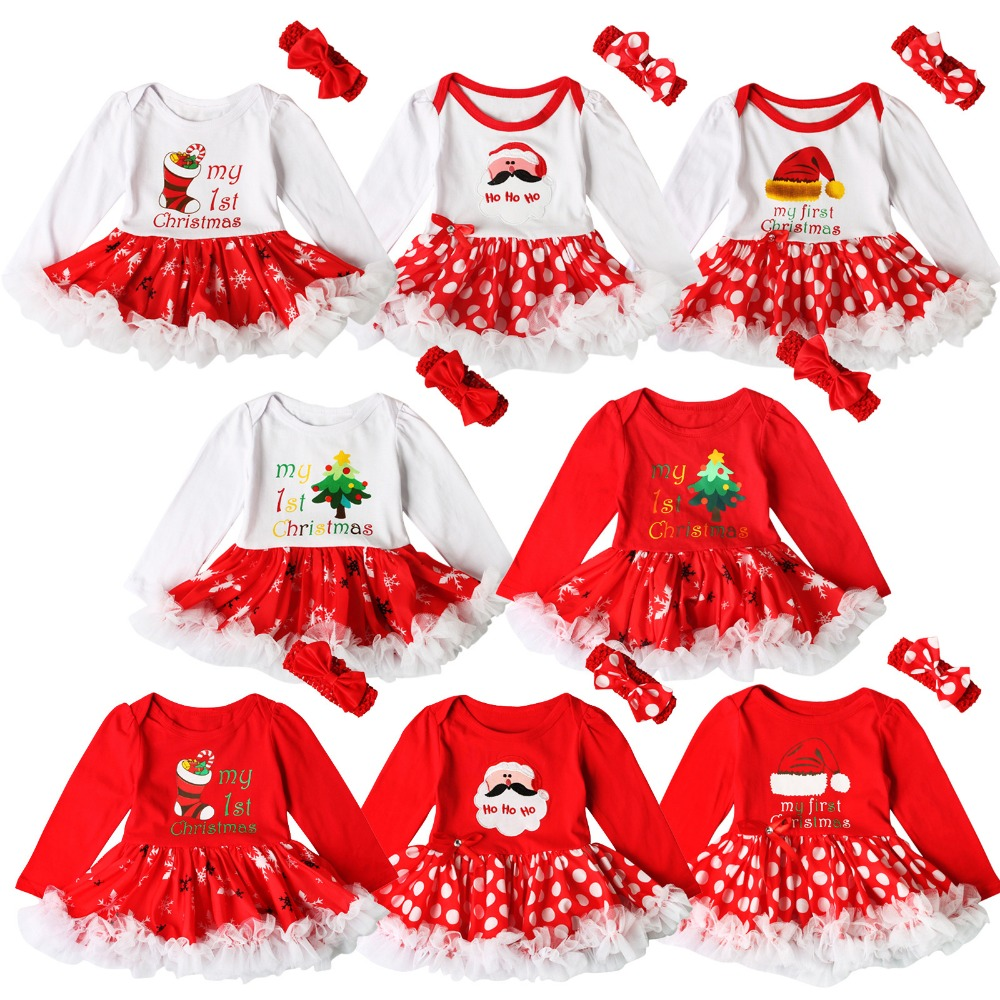Christmas Tutu Outfits.Us 5 91 15 Off Baby Girls Outfits Newborn Infant My First Christmas Tutu Dress Up Baby Christmas Lace Dress Hair Band Two Set In Clothing Sets