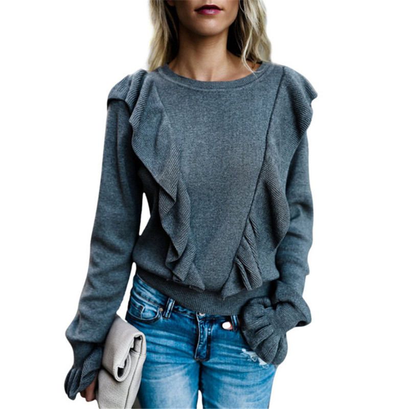Autumn Winter 2019 Womens Tshirts Long Sleeve Ruffles Tee Shirt Femme Crew Neck Harajuku Flare Sleeve Slim T-Shirts Tops Ladies