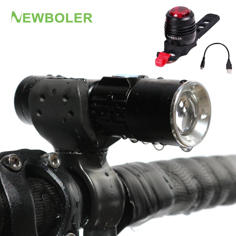 NEWBOLER Waterproof Bicycle Light Set USB Bike Front Head Light + Rechargeable Rear Safety Flashlight Tail light Lamp Retail Box