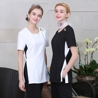2019 Latest Beauty Salon SPA Uniforms Women's White Blouse+Pants Set Fashion Tea House Working Clothing Black Vest+Top+Pants Set