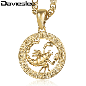 Davieslee Womens Scorpio Pendant Necklace Gold Zodiac Sign Constellation Pendant For Woman Jewelry Wholesale Dropshipping LGP364