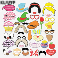 KLJUYP Cartoon Princess Photo Booth Props Photobooth Wedding Favors Glasses Paper Card Funny Mask Party Decoration