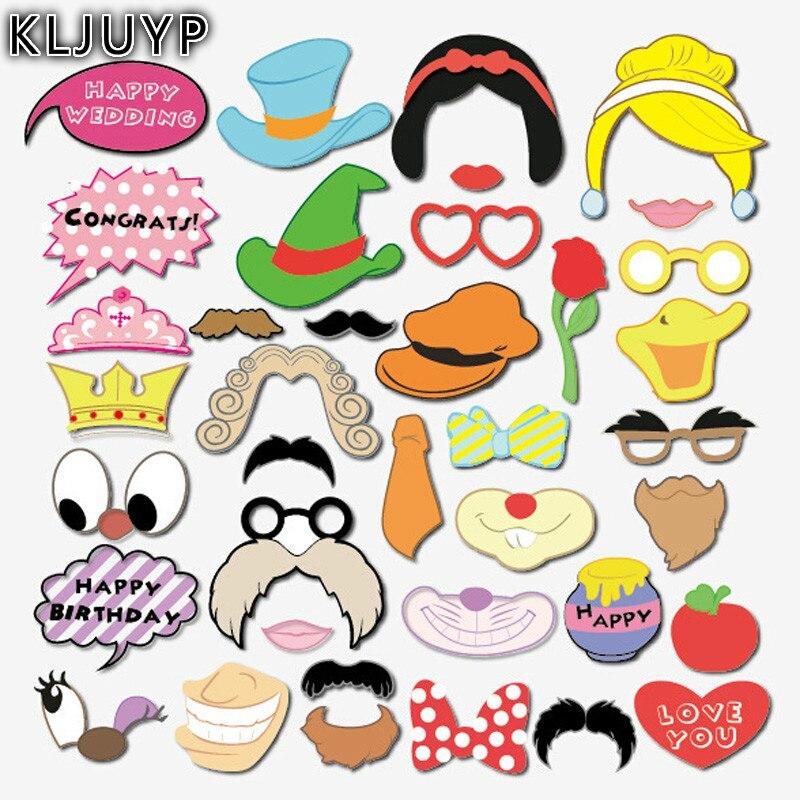 KLJUYP de dibujos animados princesa foto Booth Props Photobooth boda gafas Tarjeta de papel máscara divertida fiesta decoración de Photocall