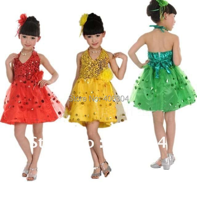 Children Latin dance dress with sequin kids stage dancing dress suitable for 110cm-150cm height
