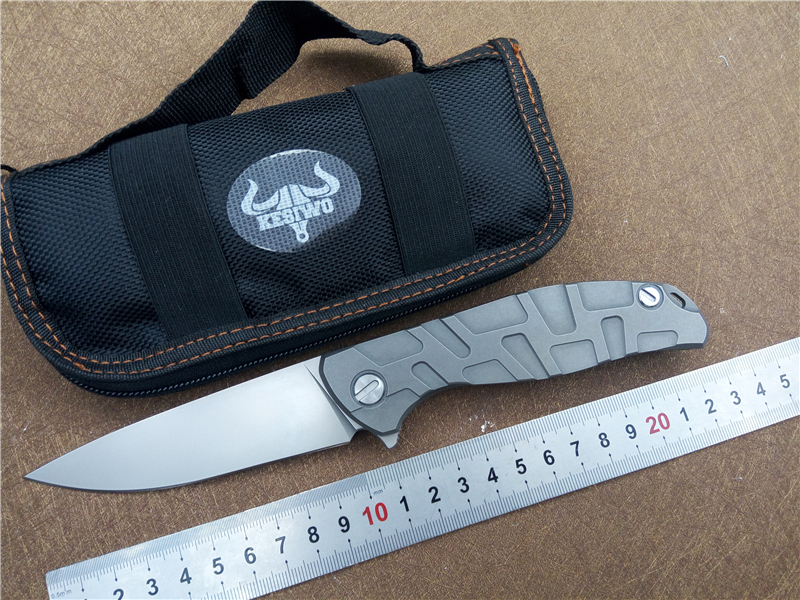 outdoor camping folding knife Quality Kesiwo Titanium alloy handle F95 59HRC D2 blade pocket edc tool knife super light faca чайник riess pastell со свистком цвет розовый 2 л