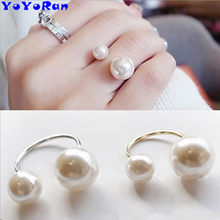 1 Piece big small double pearl ball finger rings for woman gold silver metal opening bead ball clip ring jewelry wholesale(China)