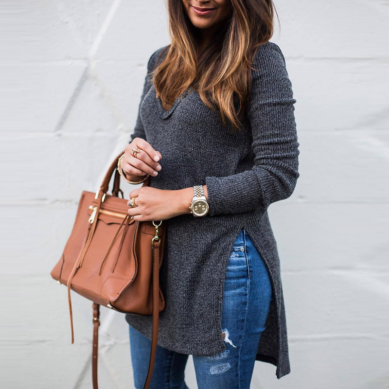Autumn Winter Women Fashion Long T Shirt 2018 Long Sleeve Tee Shirt Tops Side Slit Casual V Neck Tshirt Camiseta Feminina Gray