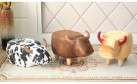 2018 New Product Cute Animal Stool Cow Ottoman Small Storage Footstool Living Room Chair