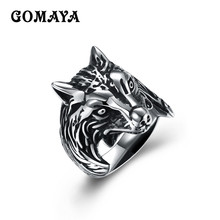 GOMAYA Animal Wolf Head Men Rings Vintage Large Male Ring Fashion Finger Accessories Anel Masculino Bague