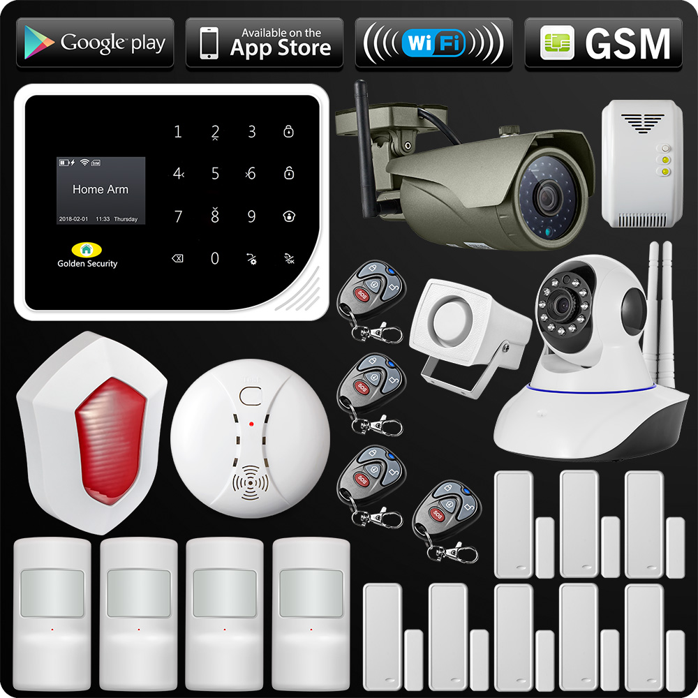 WIFI GSM Alarm System Security APP ISO Android Control Alarm Outdoor Wifi IP Camera Flash Siren