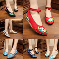 Newest Old Peking Cloth Embroidery Shoes Pointed Toe Flats Mary Janes Walking Dance Soft heel flat Shoes size 34- 41 Mix Colors