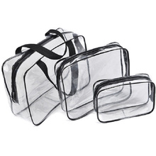 3pcs Baellerry Clear Makeup Waterproof PVC Cosmetic Bags Portable Toiletry Travel Wash Storage Pouch Transparent Organizer Cases