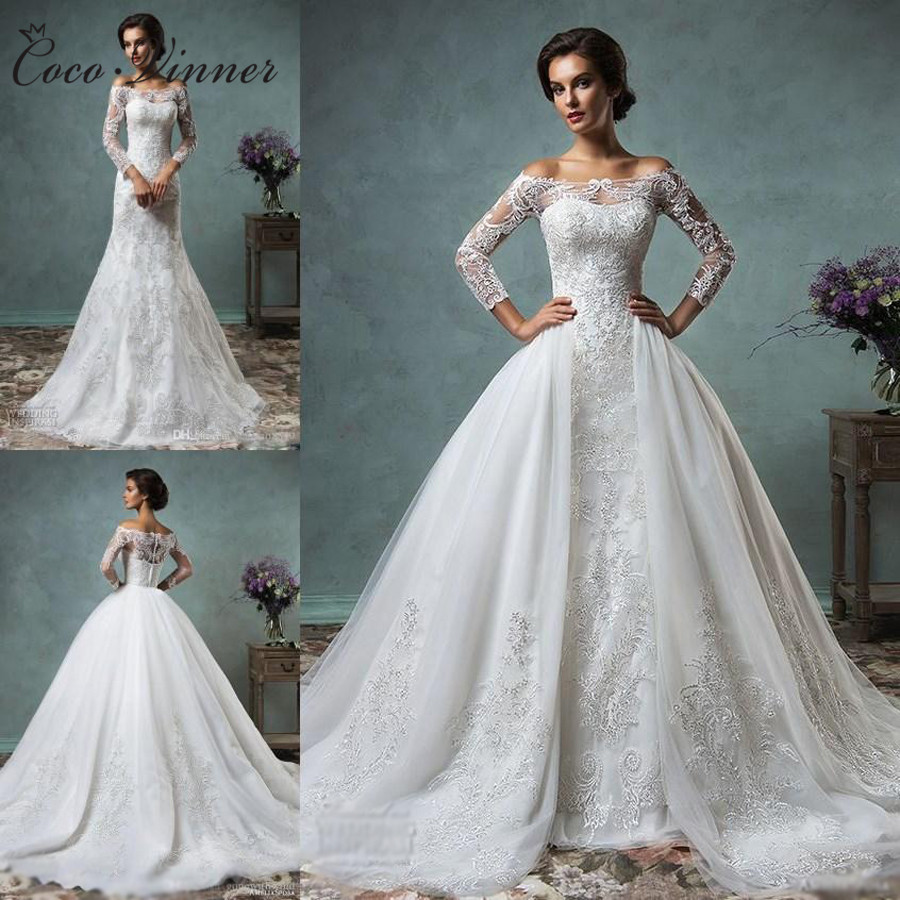 C.V Arab Mermaid Wedding Dress With Detachable Skirt Long Sleeve Illusion Lace Embroidery Appliques Plus Size Wedding Gown W0219