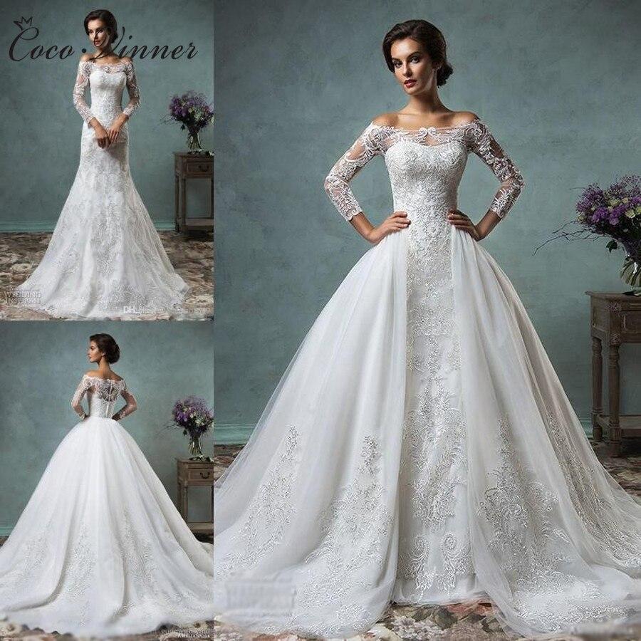 Vintage Mermaid Wedding Dress Detachable Train Long Sleeve Illusion Lace Embroidery Arabic Plus Size Wedding Gown W0219