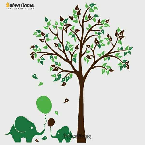 Fil Balon Ağacı Çocuk Oturma Odası Kreş Duvar Çıkartması - Ev Dekoru - Fotoğraf 5