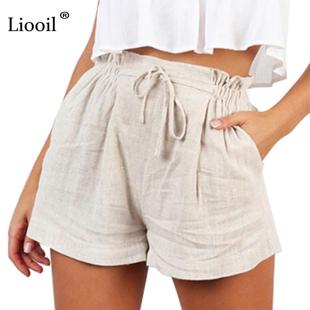 Liooil Boho Beige Casual Loose Wide Leg Shorts Women 2019 Summer Elastic High Waist Lace-Up Pocket Womens Shorts Clothing Short