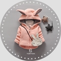 Outono Inverno Do Bebê Meninas Dos Desenhos Animados Bonito Da Orelha de Coelho Com Capuz Grosso casaco roupas Jaqueta Crianças Outerwear Casaco quente com Saco de bebe